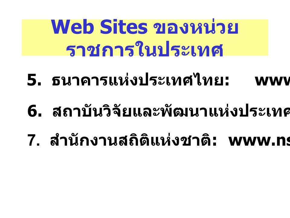Web Sites ของหน่วย ราชการในประเทศ 5. ธนาคารแห่งประเทศไทย : www.bot.or.th 6. สถาบันวิจัยและพัฒนาแห่งประเทศไทย : www.tdri.or.th 7. สำนักงานสถิติแห่งชาติ