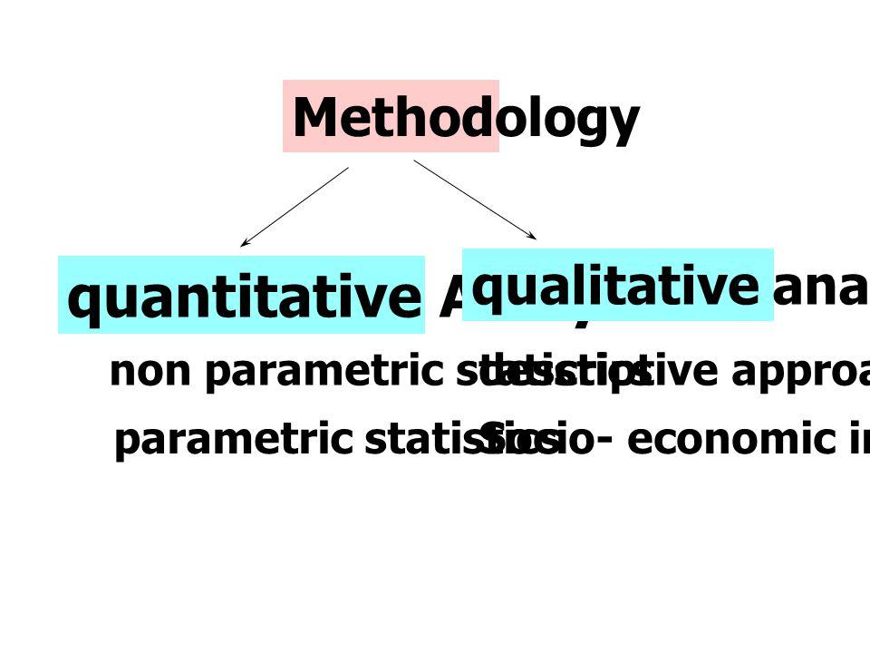 Methodology quantitative Analysis qualitative analysis parametric statisticsSocio- economic indicators descriptive approach non parametric statistics