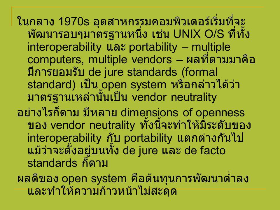ในกลาง 1970s อุตสาหกรรมคอมพิวเตอร์เริ่มที่จะ พัฒนารอบๆมาตรฐานหนึ่ง เช่น UNIX O/S ที่ทั้ง interoperability และ portability – multiple computers, multip