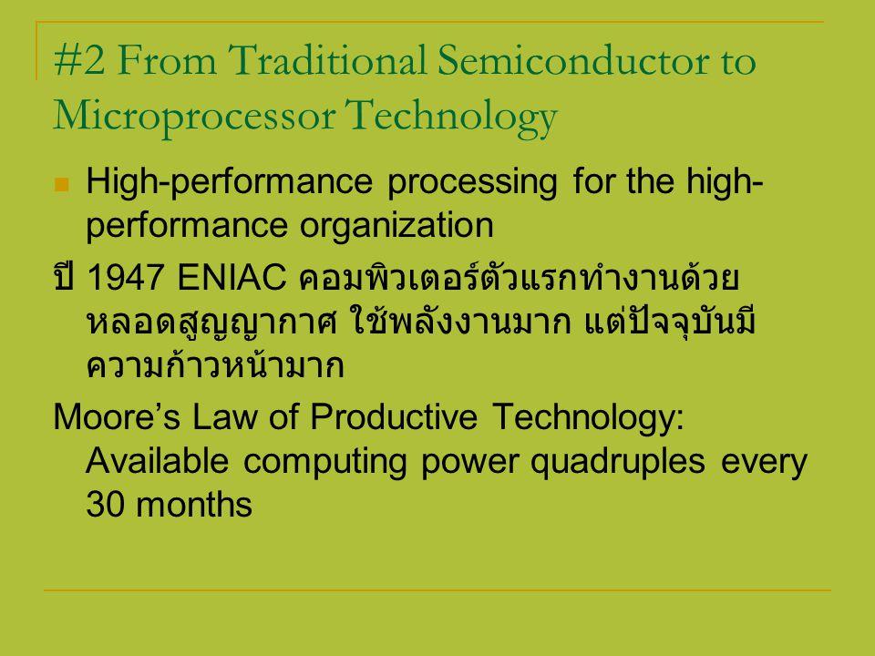 ความก้าวหน้าของความสามารถในการทำงานของ คอมพิวเตอร์ ( วัดเป็น MIPs: millions of instructions per second ) อาจแสดงเป็น : 2 to the power of n where n is the current year minus 1986 เช่น ในปี 1990; 90 – 86, 2 to the power of 4, = 32 MIPs ปี 2000; 100 – 86, 2 to the power of 14, = 32768 MIPs หรือ มากกว่า 3 BIPs (billion instruction per second)