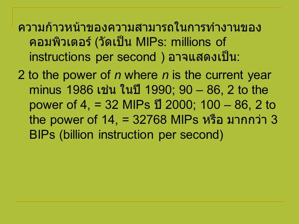 ความก้าวหน้าของความสามารถในการทำงานของ คอมพิวเตอร์ ( วัดเป็น MIPs: millions of instructions per second ) อาจแสดงเป็น : 2 to the power of n where n is