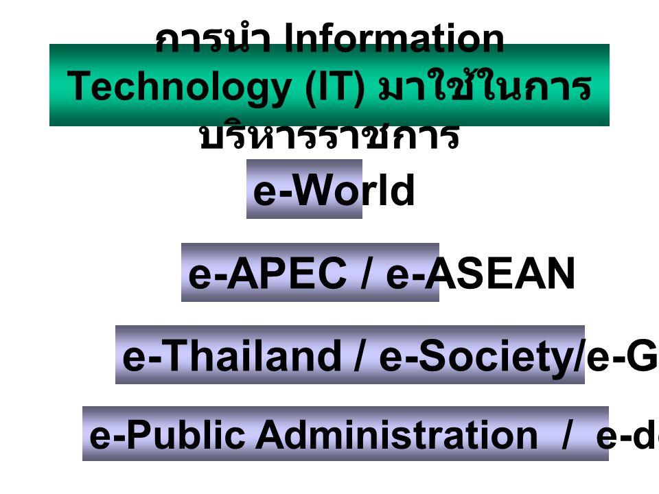e-Government e-Government คือวิธีการบริหารจัดการภาครัฐโดยการนำ เทคโนโลยีสารสนเทศมาเพิ่มประสิทธิภาพในการดำเนินงาน ของภาครัฐ ปรับปรุงบริการแก่ประชาชน และบริการด้าน ข้อมูลและสารสนเทศเพื่อส่งเสริมการพัฒนาเศรษฐกิจและ สังคม โดยที่การดำเนินการเป็นแบบ G2G, G2B, G2C