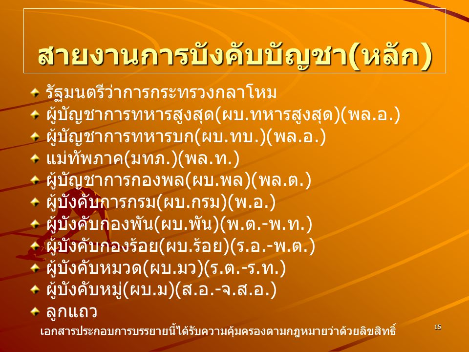 15 สายงานการบังคับบัญชา ( หลัก ) รัฐมนตรีว่าการกระทรวงกลาโหม ผู้บัญชาการทหารสูงสุด ( ผบ. ทหารสูงสุด )( พล. อ.) ผู้บัญชาการทหารบก ( ผบ. ทบ.)( พล. อ.) แ