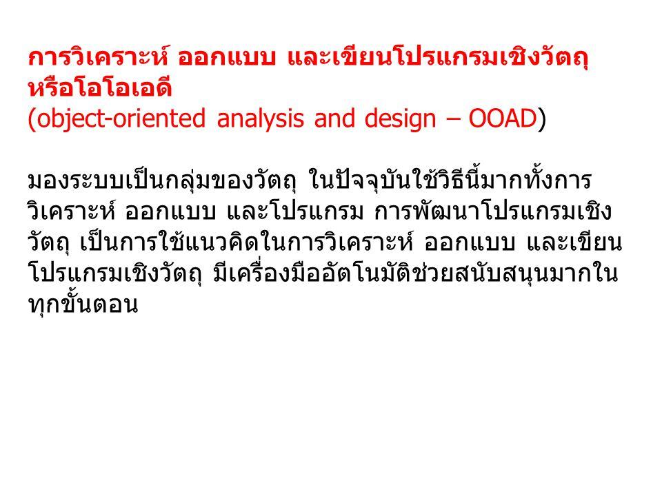 การวิเคราะห์ ออกแบบ และเขียนโปรแกรมเชิงวัตถุ หรือโอโอเอดี (object-oriented analysis and design – OOAD) มองระบบเป็นกลุ่มของวัตถุ ในปัจจุบันใช้วิธีนี้มากทั้งการ วิเคราะห์ ออกแบบ และโปรแกรม การพัฒนาโปรแกรมเชิง วัตถุ เป็นการใช้แนวคิดในการวิเคราะห์ ออกแบบ และเขียน โปรแกรมเชิงวัตถุ มีเครื่องมืออัตโนมัติช่วยสนับสนุนมากใน ทุกขั้นตอน