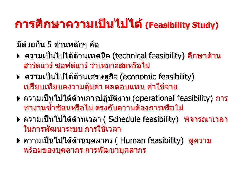 การศึกษาความเป็นไปได้ (Feasibility Study) มีด้วยกัน 5 ด้านหลักๆ คือ  ความเป็นไปได้ด้านเทคนิค (technical feasibility) ศึกษาด้าน ฮาร์ดแวร์ ซอฟต์แวร์ ว่าเหมาะสมหรือไม่  ความเป็นไปได้ด้านเศรษฐกิจ (economic feasibility) เปรียบเทียบคงวามตุ้มค่า ผลตอบแทน ค่าใช้จ่าย  ความเป็นไปได้ด้านการปฏิบัติงาน (operational feasibility) การ ทำงานซ้ำซ้อนหรือไม่ ตรงกับความต้องการหรือไม่  ความเป็นไปได้ด้านเวลา ( Schedule feasibility) พิจารณาเวลา ในการพัฒนาระบบ การใช้เวลา  ความเป็นไปได้ด้านบุคลากร ( Human feasibility) ดูความ พร้อมของบุคลากร การพัฒนาบุคลากร
