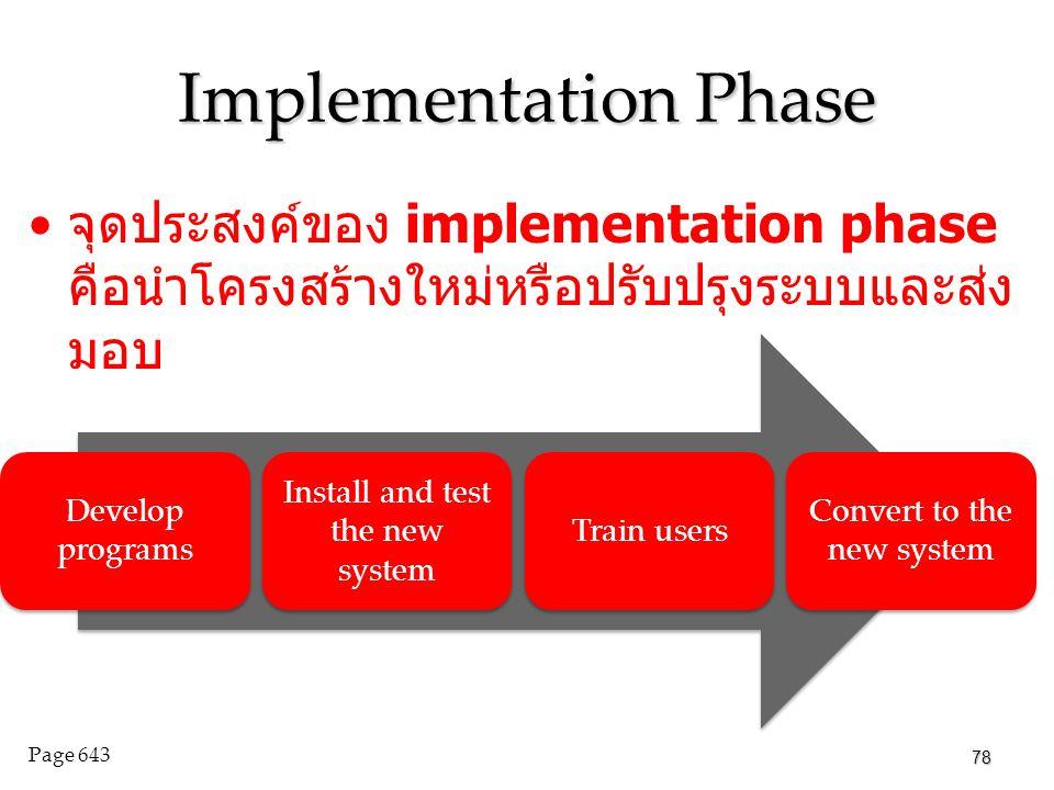Implementation Phase จุดประสงค์ของ implementation phase คือนำโครงสร้างใหม่หรือปรับปรุงระบบและส่ง มอบ 78 Page 643 Develop programs Install and test the