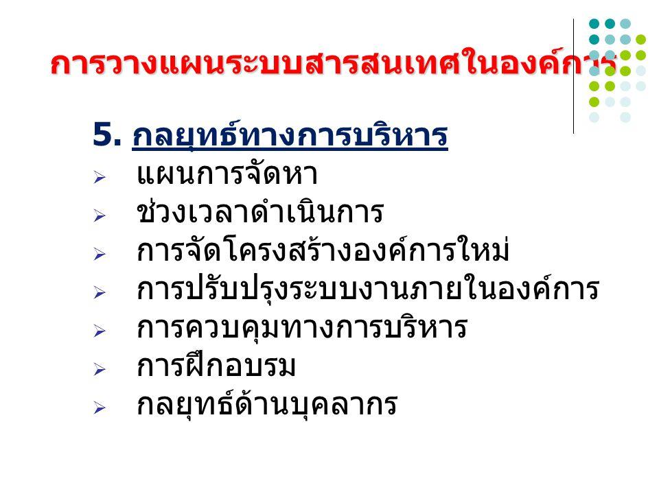 การวางแผนระบบสารสนเทศในองค์การ 6.