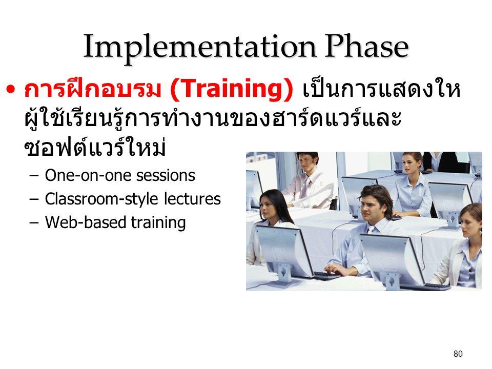 Implementation Phase การฝึกอบรม (Training) เป็นการแสดงให ผู้ใช้เรียนรู้การทำงานของฮาร์ดแวร์และ ซอฟต์แวร์ใหม่ –One-on-one sessions –Classroom-style lectures –Web-based training 80
