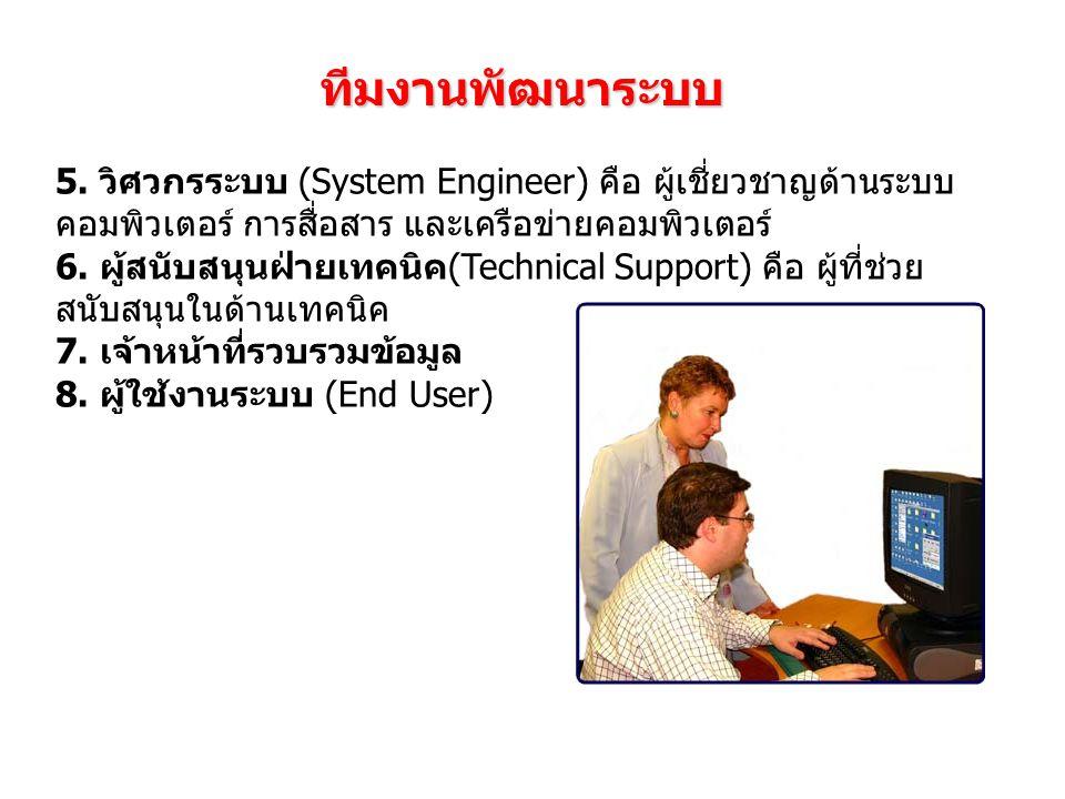 ทีมงานพัฒนาระบบ 5. วิศวกรระบบ (System Engineer) คือ ผู้เชี่ยวชาญด้านระบบ คอมพิวเตอร์ การสื่อสาร และเครือข่ายคอมพิวเตอร์ 6. ผู้สนับสนุนฝ่ายเทคนิค(Techn
