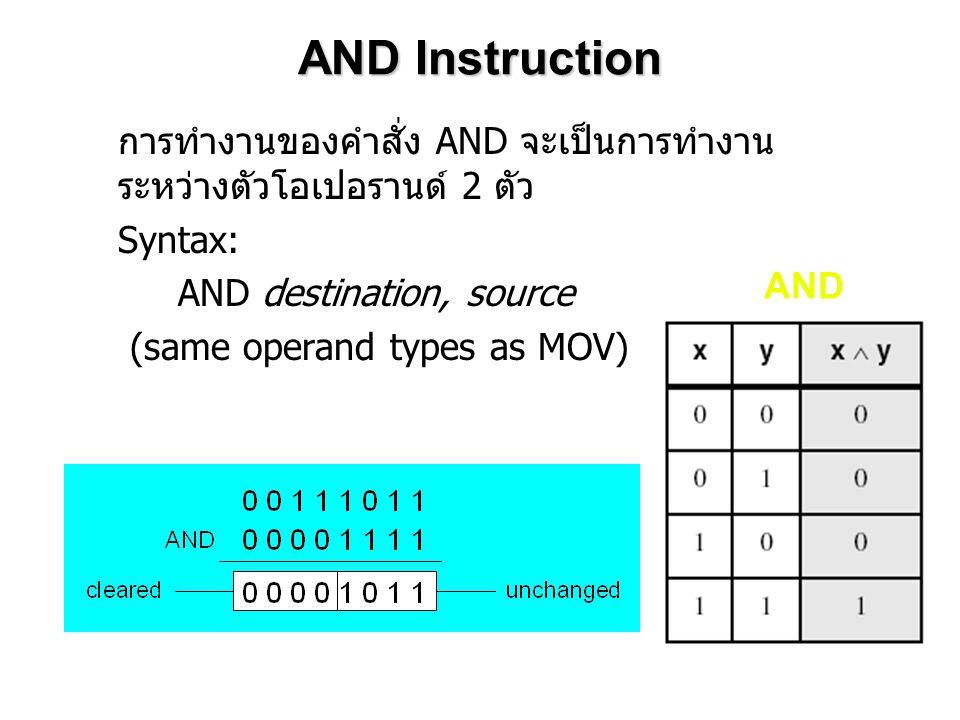 AND Instruction การทำงานของคำสั่ง AND จะเป็นการทำงาน ระหว่างตัวโอเปอรานด์ 2 ตัว Syntax: AND destination, source (same operand types as MOV) AND