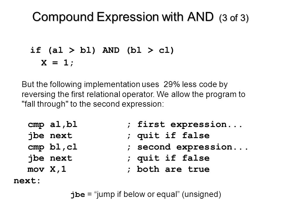 Compound Expression with AND (3 of 3) cmp al,bl; first expression...