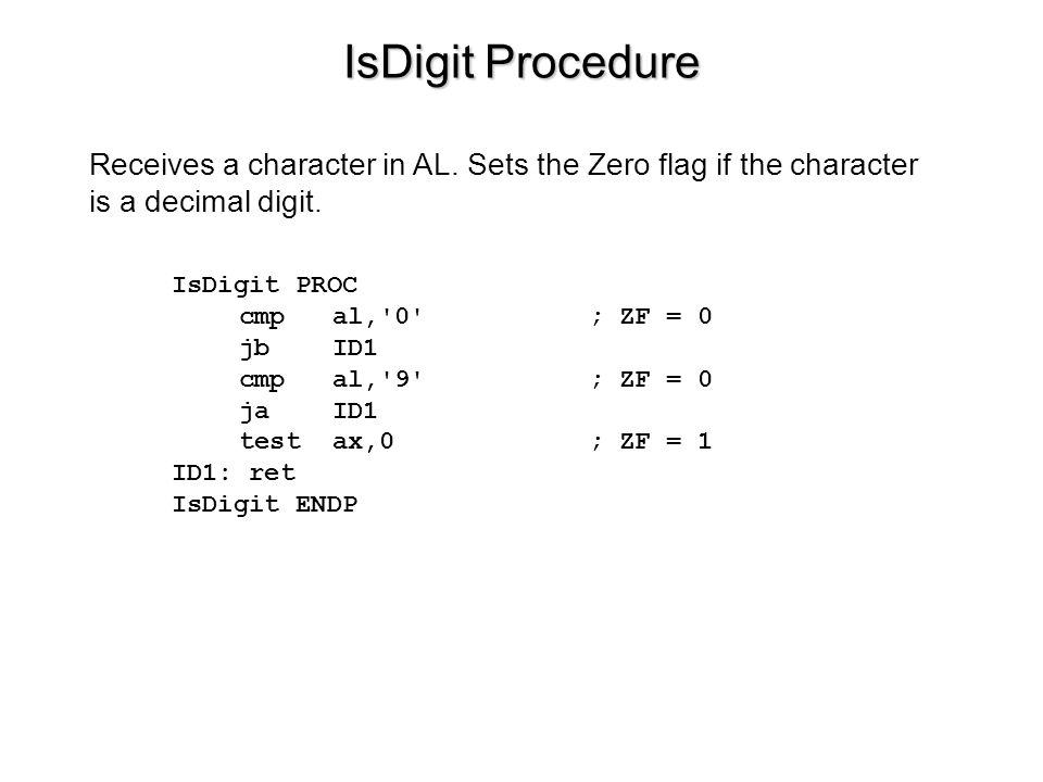 IsDigit Procedure IsDigit PROC cmp al,'0'; ZF = 0 jb ID1 cmp al,'9'; ZF = 0 ja ID1 test ax,0 ; ZF = 1 ID1: ret IsDigit ENDP Receives a character in AL