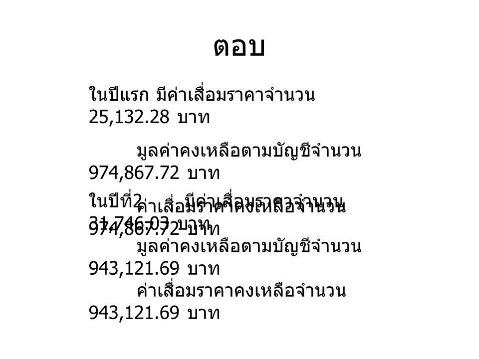 ในปีแรก มีค่าเสื่อมราคาจำนวน 25,132.28 บาท มูลค่าคงเหลือตามบัญชีจำนวน 974,867.72 บาท ค่าเสื่อมราคาคงเหลือจำนวน 974,867.72 บาท ในปีที่ 2 มีค่าเสื่อมราคาจำนวน 31,746.03 บาท มูลค่าคงเหลือตามบัญชีจำนวน 943,121.69 บาท ค่าเสื่อมราคาคงเหลือจำนวน 943,121.69 บาท ตอบ