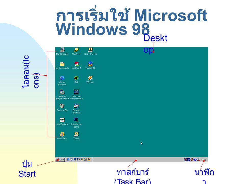 การใช้เมาส์ (Mouse) และ เมาส์พอยน์เตอร์ (Mouse Pointer) การใช้งานเมาส์ ลักษณะของเมาส์พอยน์เตอร์ (Mouse Pointer)