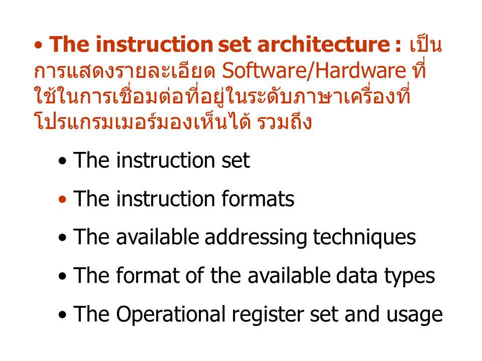 The instruction set architecture : เป็น การแสดงรายละเอียด Software/Hardware ที่ ใช้ในการเชื่อมต่อที่อยู่ในระดับภาษาเครื่องที่ โปรแกรมเมอร์มองเห็นได้ ร