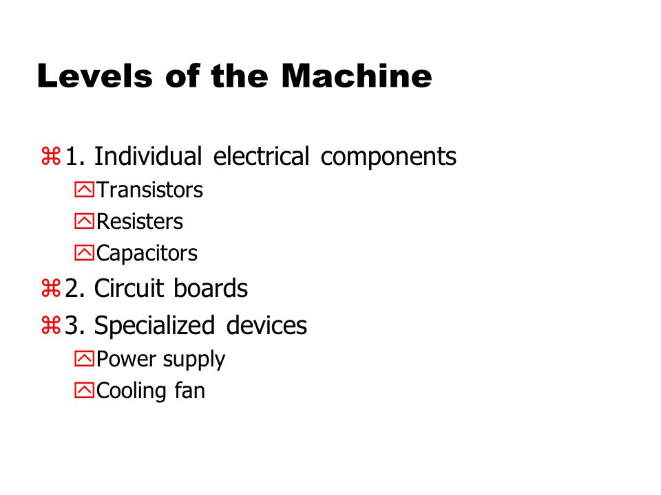 Levels of the Machine z1. Individual electrical components yTransistors yResisters yCapacitors z2.