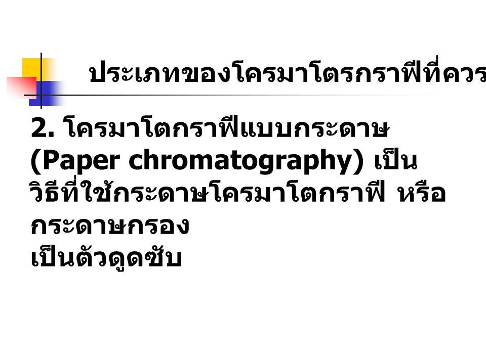ประเภทของโครมาโตรกราฟีที่ควรรู้จัก 1. โครมาโตรกราฟีแบบคอลัมน์ (Column chromatography) เป็น วิธีที่ใช้ตัวดูดซับบรรจุในคอลัมน์ แก้ว โดยนิยมใช้ อลูมินา (