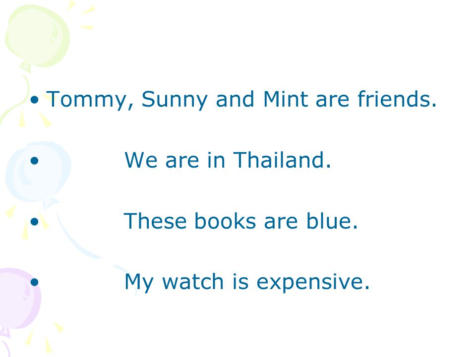 Tommy, Sunny and Mint are friends. We are in Thailand. These books are blue. My watch is expensive.