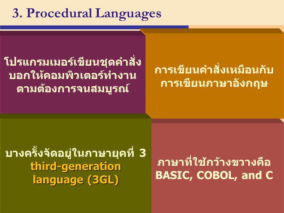 3. Procedural Languages p. 666 Next ภาษาที่ใช้กว้างขวางคือ BASIC, COBOL, and C การเขียนคำสั่งเหมือนกับ การเขียนภาษาอังกฤษ third-generation language (3