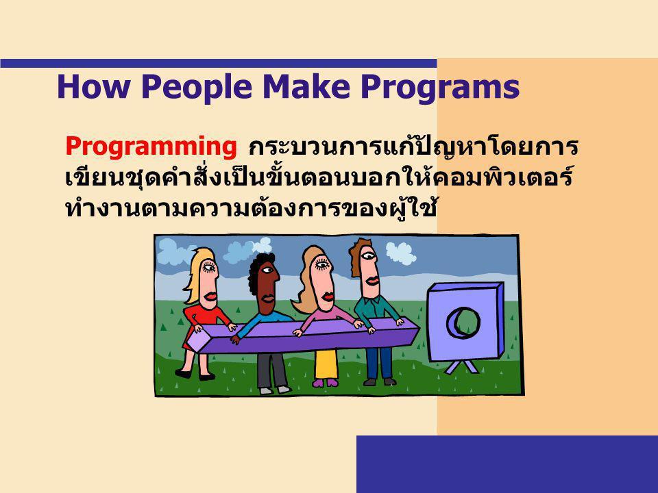 How People Make Programs Programming กระบวนการแก้ปัญหาโดยการ เขียนชุดคำสั่งเป็นขั้นตอนบอกให้คอมพิวเตอร์ ทำงานตามความต้องการของผู้ใช้