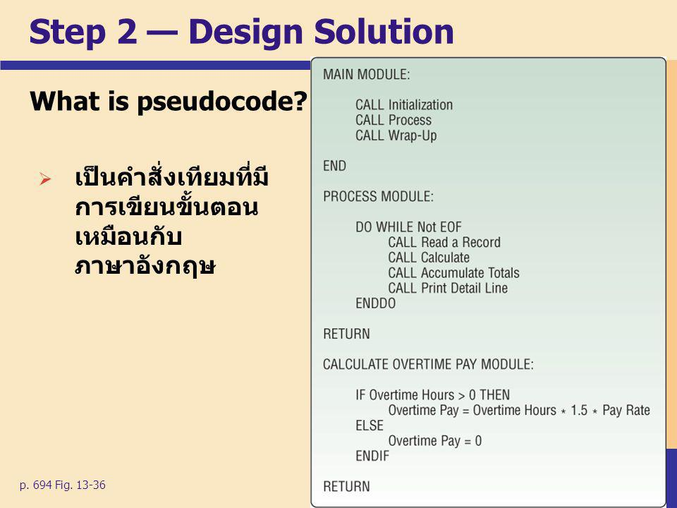 Step 2 — Design Solution What is pseudocode.p. 694 Fig.