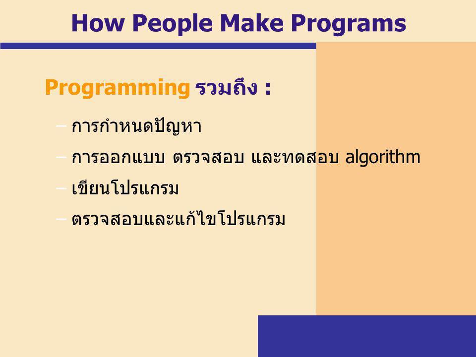High-Level Languages Well known high-level programming languages include: –FORTRAN (Formula Translation): เป็น ภาษาระดับสูงภาษาแรกที่นำมาใช้ในเชิงธุรกิจ –COBOL (Common Business Oriented Language): เป็นภาษาที่พัฒนาเพื่อใช้ในการ แก้ปัญหาทางธุรกิจ