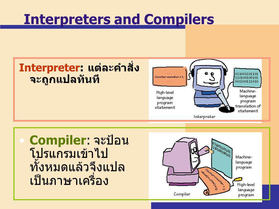 Interpreters and Compilers Interpreter: แต่ละคำสั่ง จะถูกแปลทันที Compiler: จะป้อน โปรแกรมเข้าไป ทั้งหมดแล้วจึงแปล เป็นภาษาเครื่อง