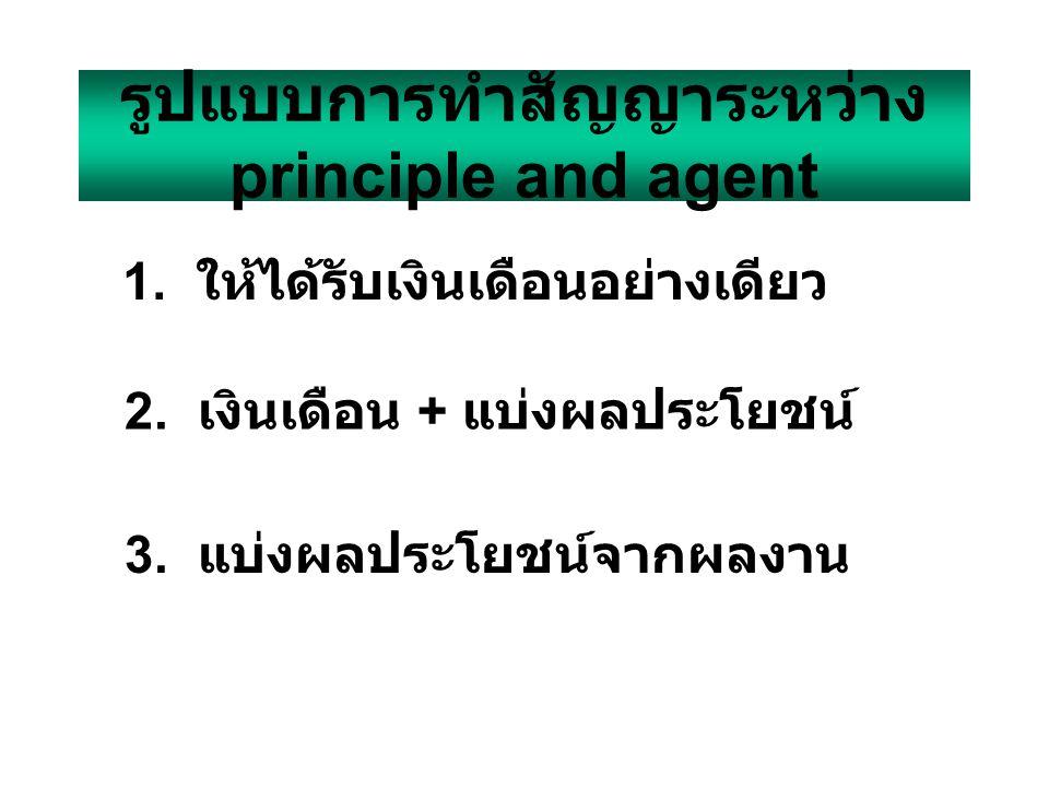 รูปแบบการทำสัญญาระหว่าง principle and agent 1.ให้ได้รับเงินเดือนอย่างเดียว 3.