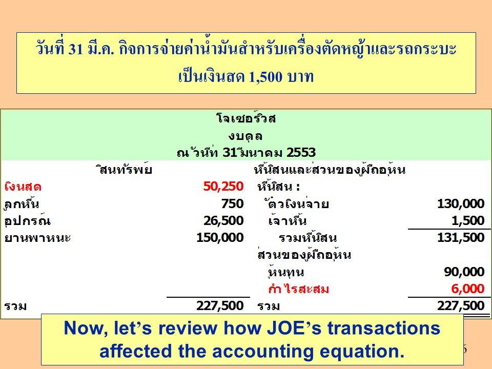 26 Now, let ' s review how JOE ' s transactions affected the accounting equation. วันที่ 31 มี.ค. กิจการจ่ายค่าน้ำมันสำหรับเครื่องตัดหญ้าและรถกระบะ เป