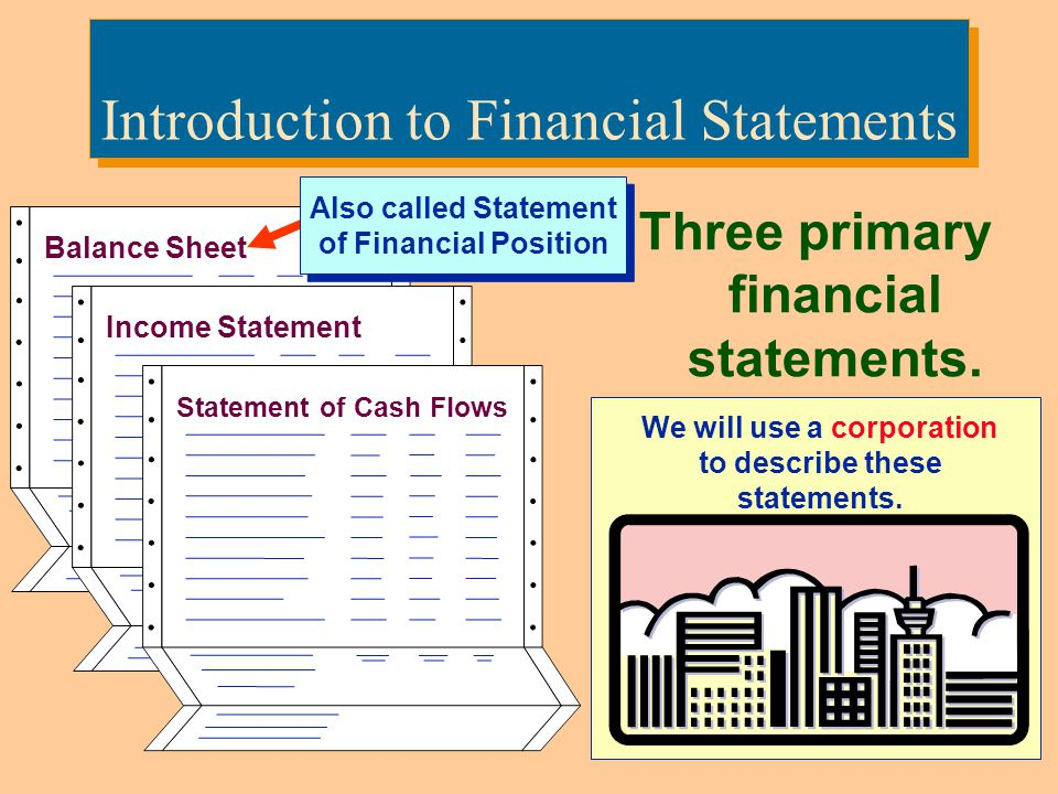 3 Introduction to Financial Statements Three primary financial statements. Income Statement Balance Sheet Statement of Cash Flows We will use a corpor