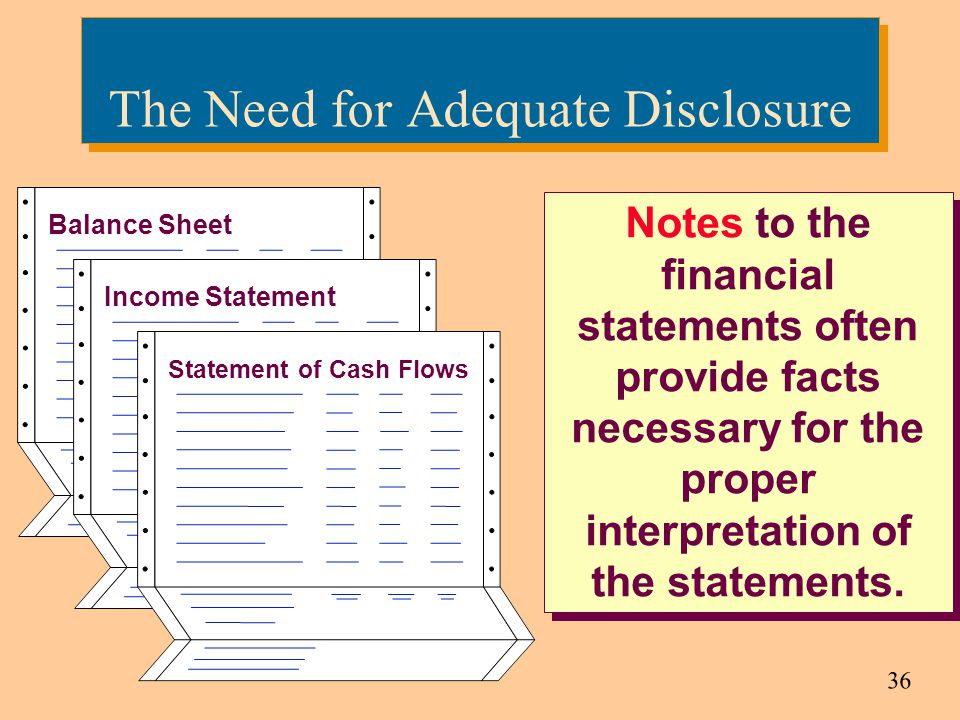 36 The Need for Adequate Disclosure Notes to the financial statements often provide facts necessary for the proper interpretation of the statements. I