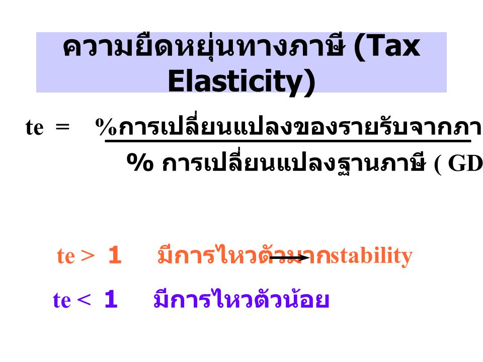 ความยืดหยุ่นทางภาษี (Tax Elasticity) te = % การเปลี่ยนแปลงของรายรับจากภาษีของตัวมันเอง % การเปลี่ยนแปลงฐานภาษี ( GDP) te > 1 มีการไหวตัวมาก te < 1 มีก