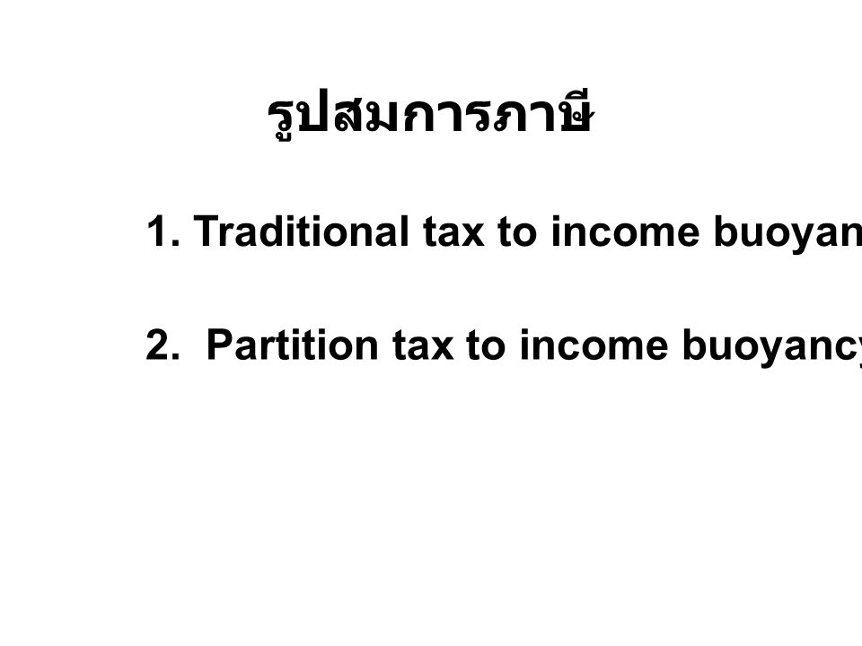 รูปสมการภาษี 1. Traditional tax to income buoyancy and elasticity 2. Partition tax to income buoyancy and elasticity