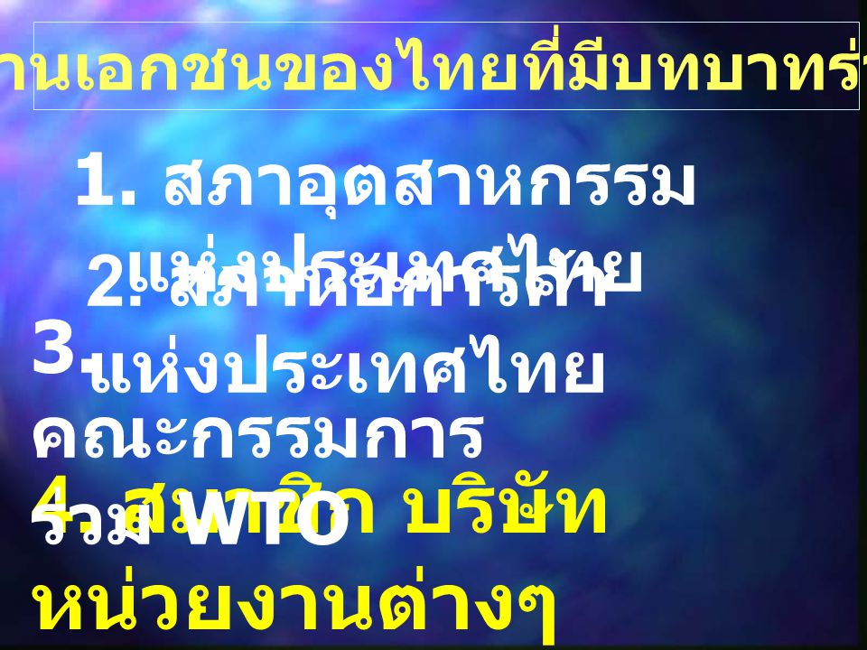 หน่วยงานเอกชนของไทยที่มีบทบาทร่วมกับรัฐ 1. สภาอุตสาหกรรม แห่งประเทศไทย 2. สภาหอการค้า แห่งประเทศไทย 4. สมาชิก บริษัท หน่วยงานต่างๆ 3. คณะกรรมการ ร่วม