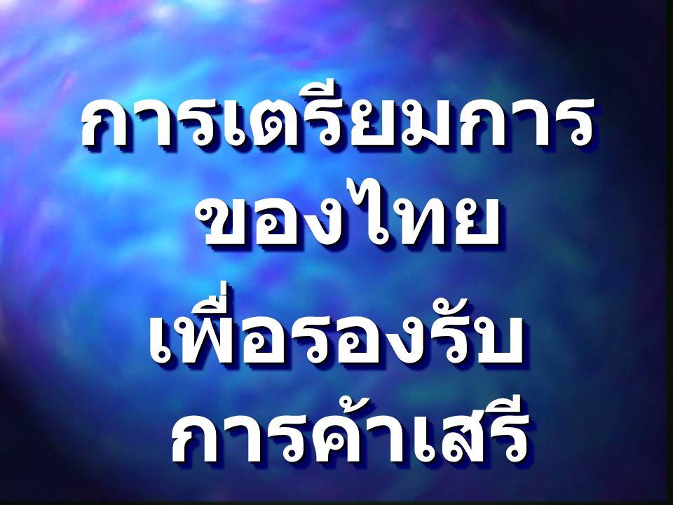 การเตรียมการ ของไทย เพื่อรองรับ การค้าเสรี ภาคเอกชน การเตรียมการ ของไทย เพื่อรองรับ การค้าเสรี ภาคเอกชน