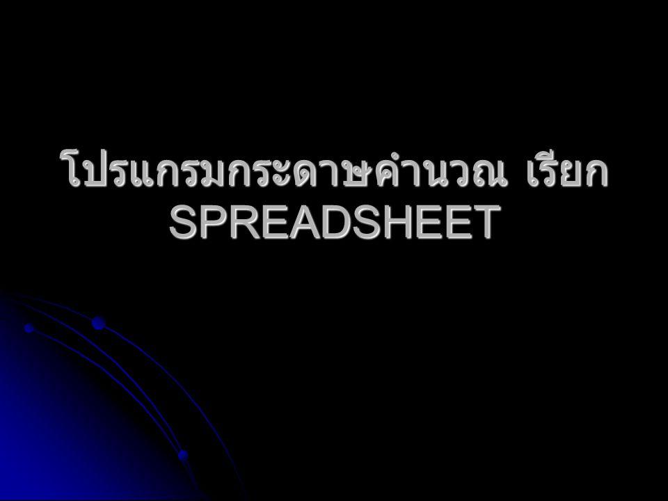โปรแกรมกระดาษคำนวณ เรียก SPREADSHEET