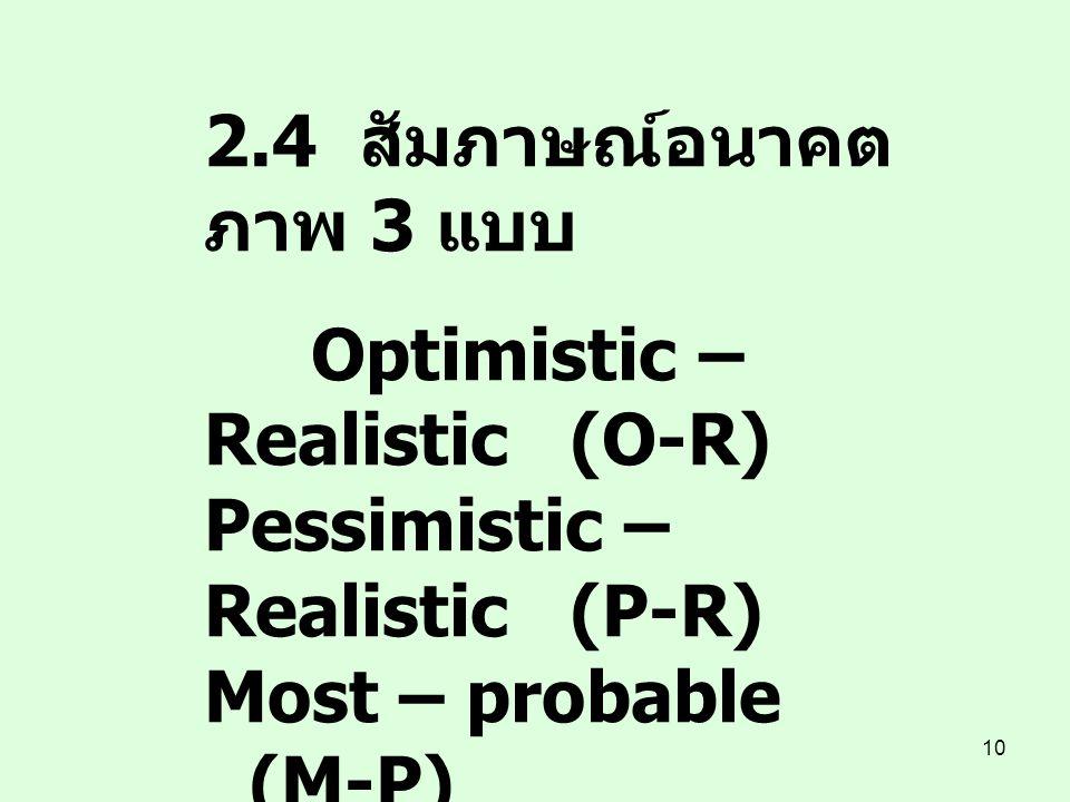 10 2.4 สัมภาษณ์อนาคต ภาพ 3 แบบ Optimistic – Realistic (O-R) Pessimistic – Realistic(P-R) Most – probable (M-P) 3. วิเคราะห์ / สังเคราะห์ หาฉันทามติ 4.