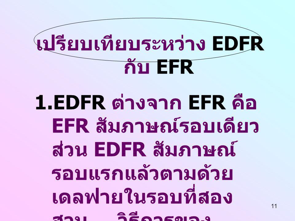 11 เปรียบเทียบระหว่าง EDFR กับ EFR 1.EDFR ต่างจาก EFR คือ EFR สัมภาษณ์รอบเดียว ส่วน EDFR สัมภาษณ์ รอบแรกแล้วตามด้วย เดลฟายในรอบที่สอง สาม... วิธีการขอ