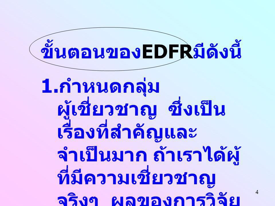 4 ขั้นตอนของ EDFR มีดังนี้ 1. กำหนดกลุ่ม ผู้เชี่ยวชาญ ซึ่งเป็น เรื่องที่สำคัญและ จำเป็นมาก ถ้าเราได้ผู้ ที่มีความเชี่ยวชาญ จริงๆ ผลของการวิจัย ก็จะเชื
