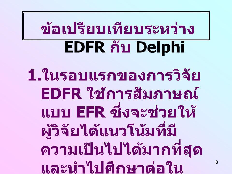 8 ข้อเปรียบเทียบระหว่าง EDFR กับ Delphi 1. ในรอบแรกของการวิจัย EDFR ใช้การสัมภาษณ์ แบบ EFR ซึ่งจะช่วยให้ ผู้วิจัยได้แนวโน้มที่มี ความเป็นไปได้มากที่สุ