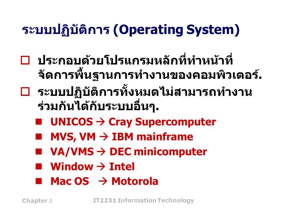 Chapter 3 IT2231 Information Technology 11 ระบบปฏิบัติการ (Operating System)  ประกอบด้วยโปรแกรมหลักที่ทำหน้าที่ จัดการพื้นฐานการทำงานของคอมพิวเตอร์.