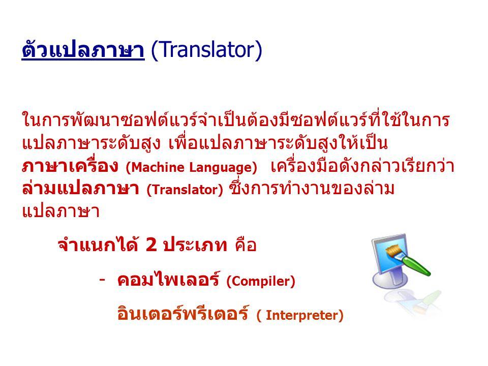 ตัวแปลภาษา (Translator) ในการพัฒนาซอฟต์แวร์จำเป็นต้องมีซอฟต์แวร์ที่ใช้ในการ แปลภาษาระดับสูง เพื่อแปลภาษาระดับสูงให้เป็น ภาษาเครื่อง (Machine Language)
