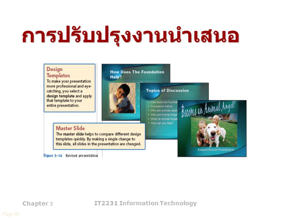 Chapter 3 IT2231 Information Technology 42 การปรับปรุงงานนำเสนอ Page 80