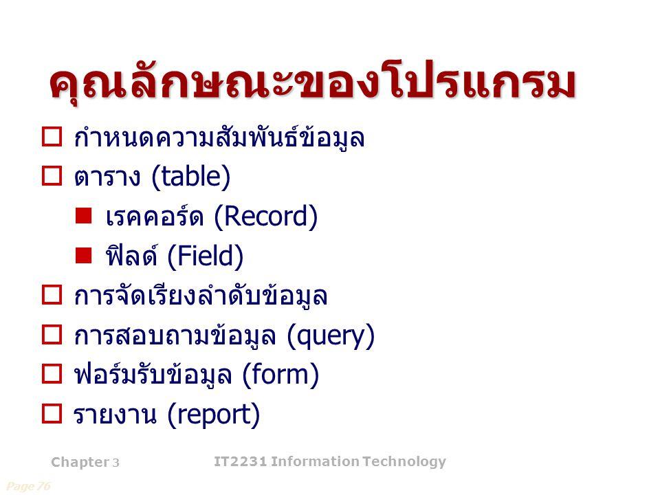 Chapter 3 IT2231 Information Technology 44 คุณลักษณะของโปรแกรม  กำหนดความสัมพันธ์ข้อมูล  ตาราง (table) เรคคอร์ด (Record) ฟิลด์ (Field)  การจัดเรียง