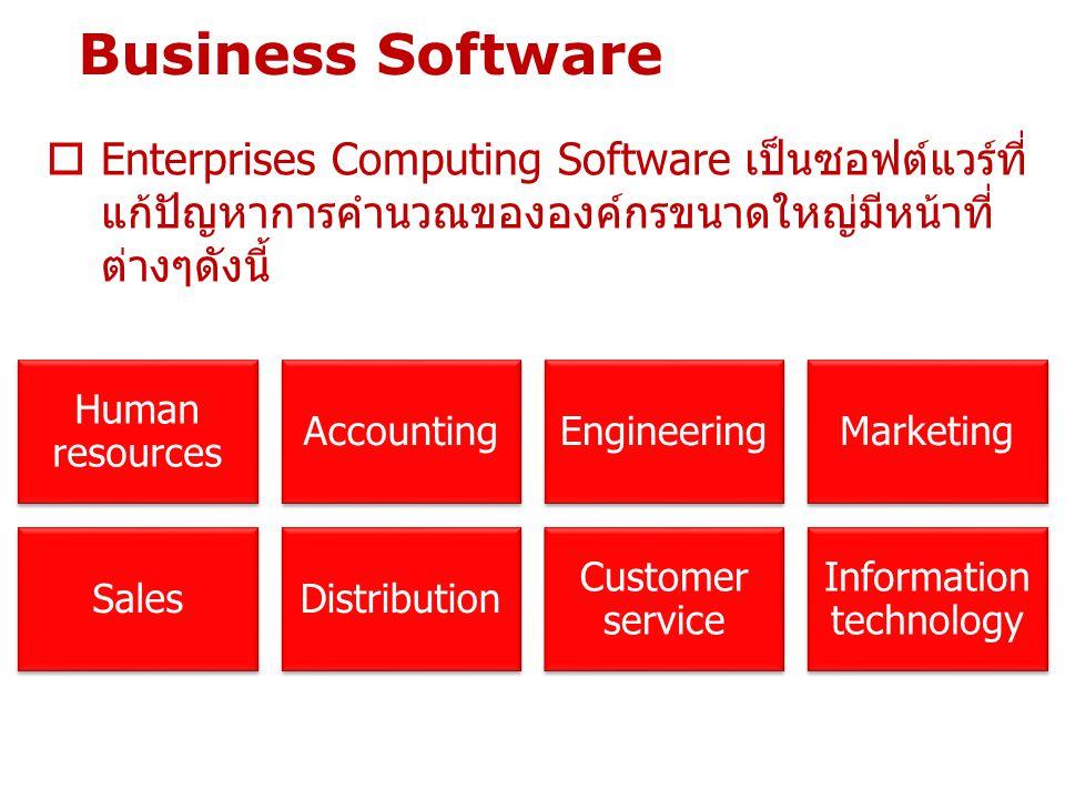 Business Software  Enterprises Computing Software เป็นซอฟต์แวร์ที่ แก้ปัญหาการคำนวณขององค์กรขนาดใหญ่มีหน้าที่ ต่างๆดังนี้ Human resources AccountingE