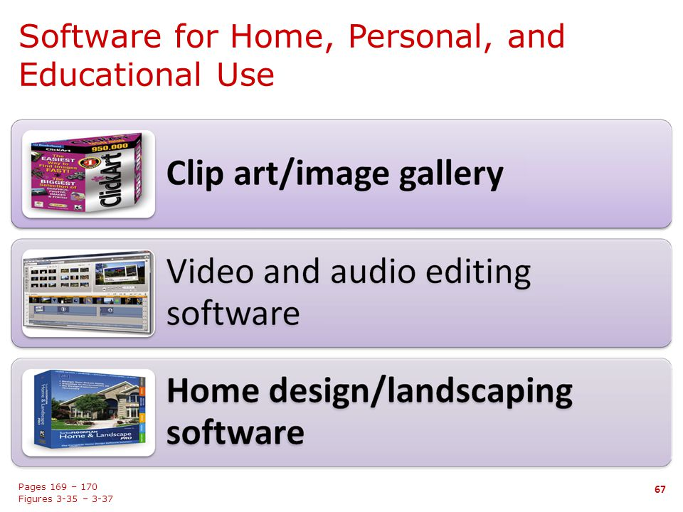 Software for Home, Personal, and Educational Use 67 Pages 169 – 170 Figures 3-35 – 3-37 67