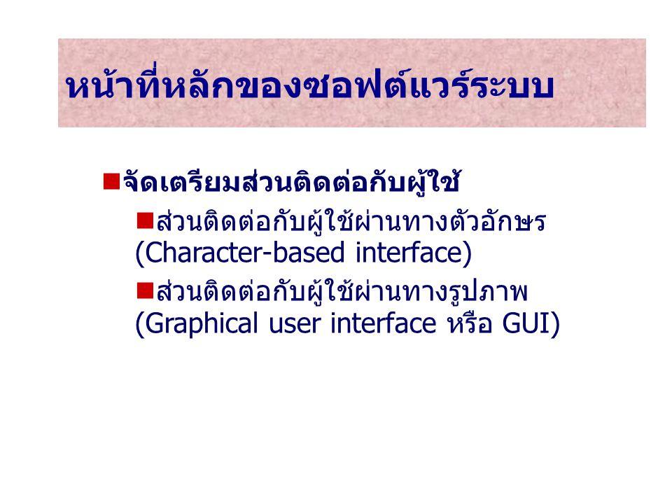 9 หน้าที่หลักของซอฟต์แวร์ระบบ จัดเตรียมส่วนติดต่อกับผู้ใช้ ส่วนติดต่อกับผู้ใช้ผ่านทางตัวอักษร (Character-based interface) ส่วนติดต่อกับผู้ใช้ผ่านทางรู