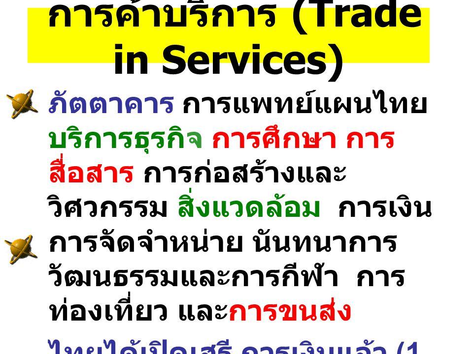 การค้าบริการ (Trade in Services) ภัตตาคาร การแพทย์แผนไทย บริการธุรกิจ การศึกษา การ สื่อสาร การก่อสร้างและ วิศวกรรม สิ่งแวดล้อม การเงิน การจัดจำหน่าย น