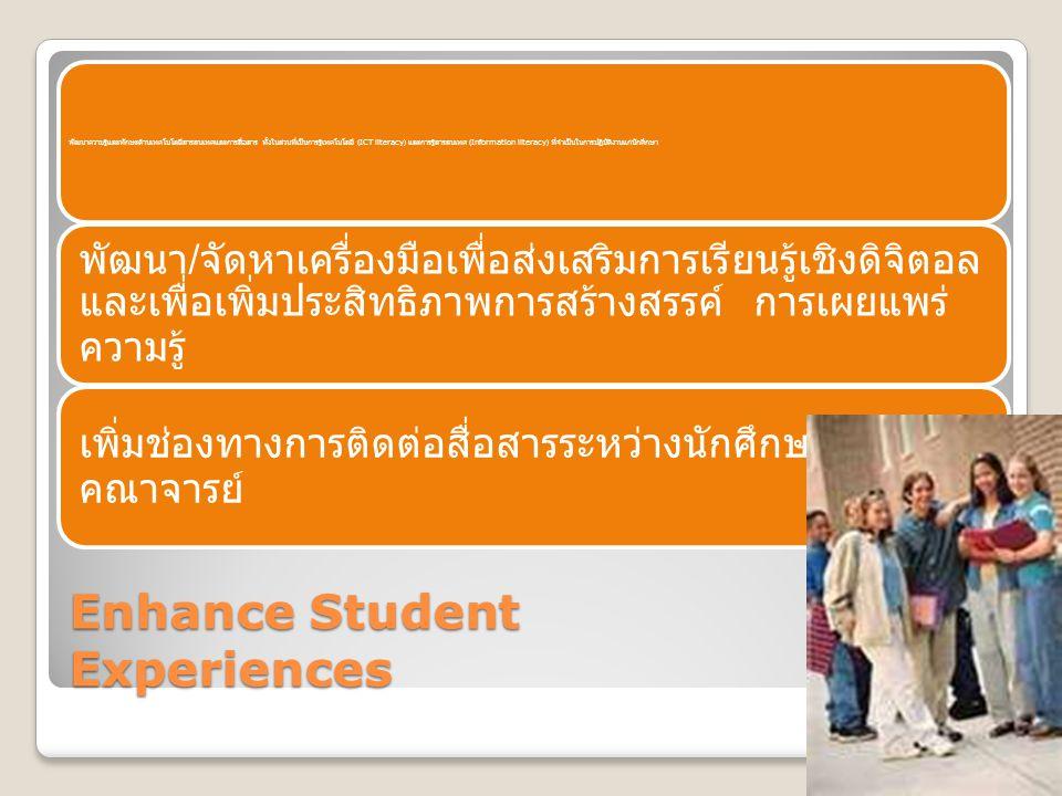 Enhance Student Experiences พัฒนาความรู้และทักษะด้านเทคโนโลยีสารสนเทศและการสื่อสาร ทั้งในส่วนที่เป็นการรู้เทคโนโลยี (ICT literacy) และการรู้สารสนเทศ (