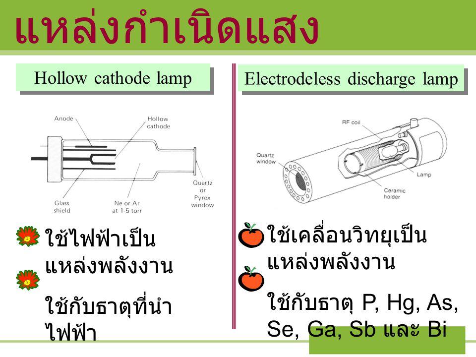แหล่งกำเนิดแสง Hollow cathode lamp Electrodeless discharge lamp ใช้ไฟฟ้าเป็น แหล่งพลังงาน ใช้กับธาตุที่นำ ไฟฟ้า ใช้เคลื่อนวิทยุเป็น แหล่งพลังงาน ใช้กั